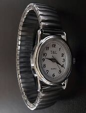 Quartz UHR Flexband Zugarmband Damen Armbanduhr Edelstahl Metallzugband Batterie