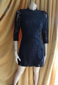 (390OCT) Size 12 *H&M* Chic black lacey bodycon cocktail dress ladies/women
