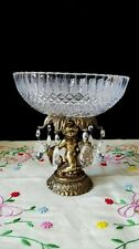 Vintage Crystal Brass Cherub Compte Candy Dish with Tear Drop Prisms