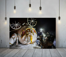 BANKSY CINDERELLA CRASH -FRAMED CANVAS WALL ART PICTURE PAPER PRINT-BLACK YELLOW
