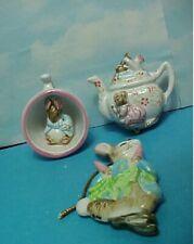 3 Beatrix Potter Ceramic Ornaments Peter Rabbit Teapot & Cup