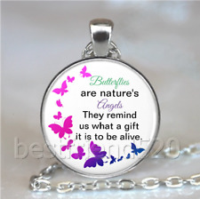 Butterfly Quotes Photo Tibet Silver Cabochon Glass Necklace Pendant#D104
