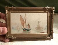 Antique Miniature Picture Frames x3 Rococo Gilt Metal & Painting, Tunbridge Ware