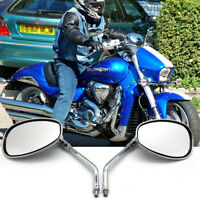 10MM CHROME MOTORCYCLE OVAL REARVIEW MIRRORS LONG STEM FOR HONDA SUZUKI KAWASAKI