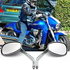 10MM CHROME MOTORCYCLE OVAL REARVIEW MIRRORS LONG STEM FOR HONDA SUZUKI KAWASAKI