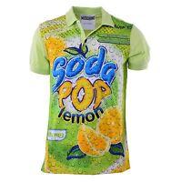 "MOSCHINO COUTURE RUNWAY Printed Cotton Polo Shirt ""Drink Soda"" Green 04414"