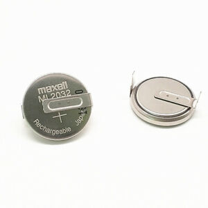 Japan MAXELL ML2032-T6 3V rechargeable button battery with solder feet 3PCS