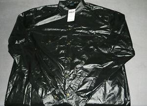 Glanznylon Hemd shiny nylon ohne Futter - Gr. 5XL - SCHWARZ