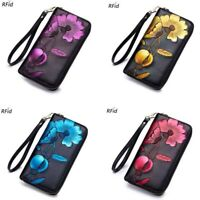 Cowhide Leather Women Long Wallet Clutch RFID Blocking ID Card Holder Coin Purse