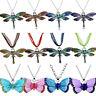 Dragonfly Butterfly Elephant Pendant Necklace Women Men Jewelry Multi Color
