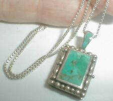 Estate STERLING SILVER SOUTHWEST STYLE inlay turquoise LOCKET PENDANT NECKLACE