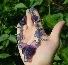 Fluorite wolf necklace unicorn horn crystal flower elf witch mermaid pastel goth