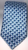 Paul Stuart Blue 7 Fold Vintage 100% Silk Tie Necktie Made In Italy 59x4 Inches