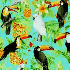 Oasis Isle Tropical Toucan Parrot Bird Pineapple and Flower Fabric - Aqua