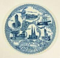 Antique NEW YORK Souvenir Plate PENNSYLVANIA RAILROAD STATION BROOKLYN BRIDGE