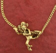 Monkey Necklace 3D Gold Plated Charm Pendant and Chain Climbing chimp