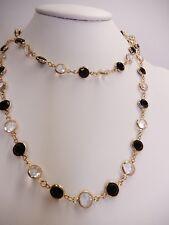 """Signed Swarovski Crystal Bezel Necklace Long Black Clear 36"""" 9mm N23"""