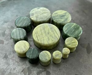 PAIR Green Jasper Natural Stone Double Flare Plugs Organic Earlets Gauges