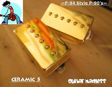 P-94 Style Humbucker sized P-90 Pickups  Gold Covered (Ceramic 5)