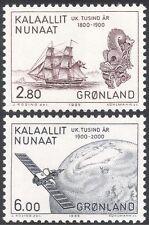 Greenland 1985 Sailing Ships/Satellite/Transport/Communications 2v set (n31818)