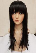 Black Human Hair Wig, Real Hair, Brunette, bangs, fringe