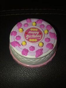 Barbie 1990 Pink Happy Birthday Cake Twist & Turn Candles Mattel Arco Vintage