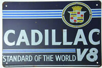 "Cadillac V8 Service Dealer Garage Retro Metal Tin Garage Sign Plaque 12x8"" NEW"