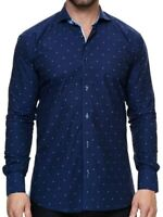 Maceoo Elegance Diamond Long Sleeve Regular Fit Shirt Navy Size XL NWT $189
