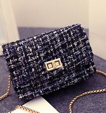Tweed Fringe Chain Strap Handbag Crossbody Flap Bag Blue Black Grey