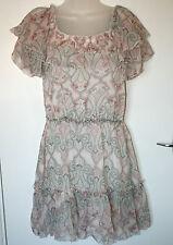 Red Herring UK10 EU38 white/pink floaty tiered dress - on/off shoulder