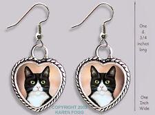 Tuxedo Shorthair Black & White Cat - Heart Earrings Ornate Tibetan Silver