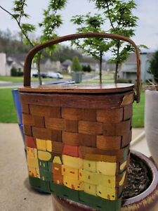 Natural Vintage Wicker Hand Painted Picnic Basket