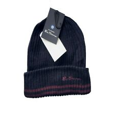 BEN SHERMAN Ribbed Knit Striped Winter Mens Beanie Hat Navy Blue One Size > BNWT