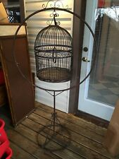 Antique Rustic Solid Iron Stand Round Hanging Rotating Bird Parrot Cage