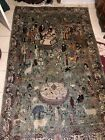 Vintage HAND KNOTTED antique Oriental Rug Pictorial Scene Animals Royalty Demons