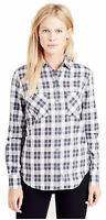 True Religion Women's Plaid Utility Button Long Sleeve Shirt in Indigo