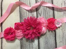 Pink /Hot Pink Maternity Sash Belt / Baby Showers Vintage Belt /Flower Girl Sash