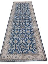 4 x 11 Blue Bedroom Runner Rug 49 x 134 in Chobi Peshawar Runner Natural Dyes
