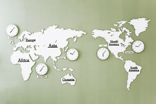 World map wall clocks ebay big large world map wall clock wooden diy sticker puzzle home lpm white 220cm gumiabroncs Images