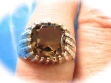 STERLING SILVER MEN'S SMOKEY QUARTZ RING SIZE 8.75  NEW OLD STOCK FOUND  STORAGE