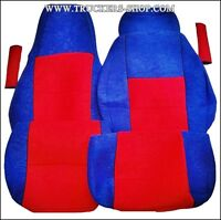 SCANIA S VELOUR SEAT COVERS RED/BLUE  [TRUCK PARTS & ACCESSORIES]