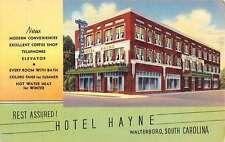 Walterboro South Carolina Hotel Hayne Street View Linen Antique Postcard K15181