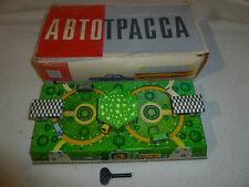 VINTAGE BOXED ABTOPACCA TIN LITHO AUTOMOBILE & BUS TRACK WIND-UP TOY RUSSIAN CIB