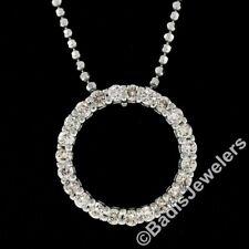 "14k White Gold 16"" .50ctw Round Diamond 15.15mm Circle of Life Pendant Necklace"