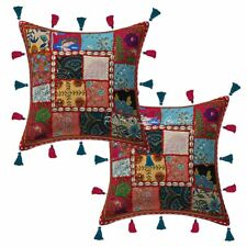 "Cotton Colorful Kodi Tassels Patchwork Pillow Cases 16"" Indian Cushion Cover"