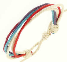 Surf Surfer Style Multi Coloured Cord Wristband Bracelet Red White Blue Purple