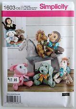 SIMPLICITY SEWING PATTERN 1603 Stuffed Animals Monkey Dog Lamb Pony