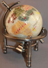 Genuine Multi-Gemstone Desktop Globe Pewter Tone Base White Pearl Globe Free SH