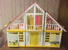 Barbie Dream Doll House A Frame Mattel 1970's With Lots Extras Doll Furniture
