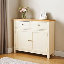 SB19 Solid Oak Newsham Sideboard Cream Painted Finish and Stylish Metal Handles.